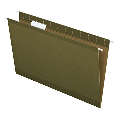 Pendaflex Reinforced Hanging Folders, Legal Size, Standard Green, 1/5 Cut, 25/BX (4153 1/5)