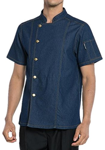 XinAndy Men's Denim Chef Coats Short sleeves