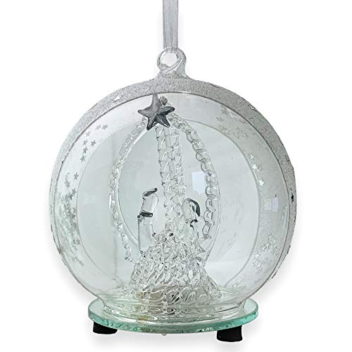 BANBERRY DESIGNS Holy Family Nativity LED Glass Globe Christmas Tree Ornament - Color Changing Lights - Clear Glass with Hand Painted Glitter Snowflakes - 5 Inch -