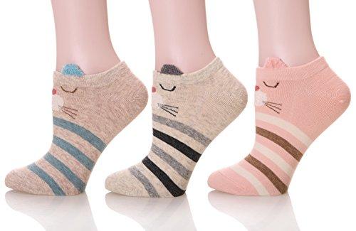 DoSmart Women's Cute Animal Pattern Casual Cartoon No Show Low Cut Socks - 3 Pairs (Cat) (Casual Pattern Cartoon)