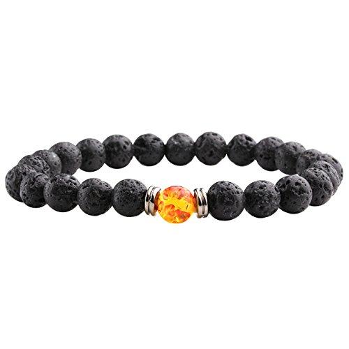 JSDDE Lava Armband,Unisex Zen-Buddhismus Armreif Energietherapie Lava-Stein Yoga-Armband Buddha-Armband,Bernstein