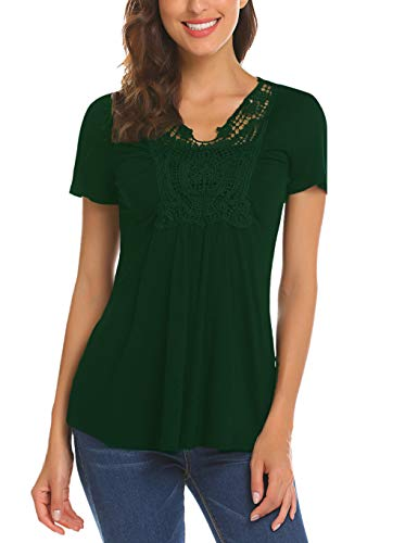 Short Sleeve Ruched Pleated Front Casual Loose T-shirt Top Blouse (XL, Deep Green) ()