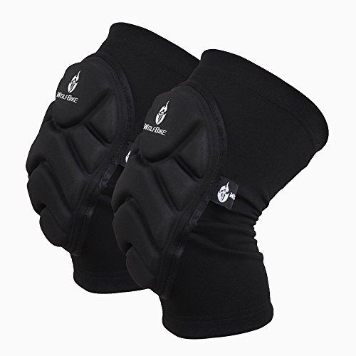 WOLFBIKE Tactical Knee Pads Skiing Goalkeeper Soccer Football Volleyball Extreme Sports Protective Kneepads Black (M (Thigh 11-15