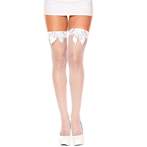 Satin Bow Fishnet Thigh Hi- White
