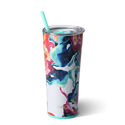 (Swig Life Stainless Steel Signature 22oz Tumbler with Spill Resistant Slider Lid and Reusable Straw in Color Swirl)