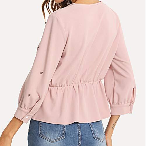 Da Sette Tops Rosa V Arco Camicia Maglietta Elegante Anmain Tinta Quarti Camicette Bluse collo Camicetta DonnaPerla Blouse Blusa T Manica Pizzo Unita shirt Lunga Camicie Moda lJKcT1F