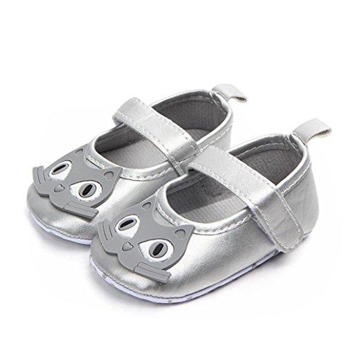 Malloom® Neugeborenes Baby-Karikatur-Turnschuh-Weiche Sohle Lanti-Beleg Einzelne Schuhe Erster Wanderer Baby Cartoon Eule Mädchen Slip Kleinkind Schuhe Silber