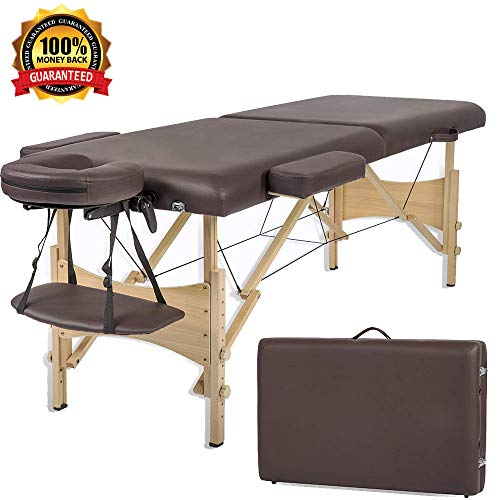 Massage Table Massage Bed Spa Bed 73 Inch Portable 2 Folding W/Carry Case&Face Cradle&Armrest Wooden Frame Height Adjustable Spa Beauty Therapy Salon Facial Tattoo Table Bed Holds 450 LBS-Brown