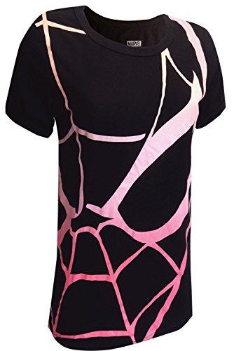 文字定期的に発火するMJC Women's Marvel Comics Spiderman Black Tee Shirt