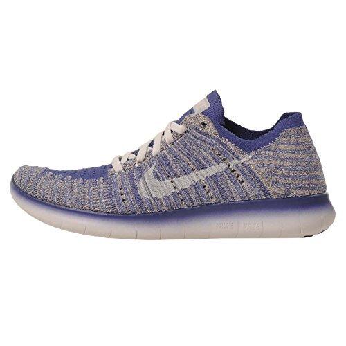 Nike Kids Free RN Flyknit GS Running Shoes (4.5Y, Blue)