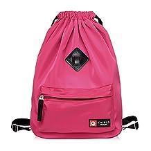 Walktorock Waterproof Drawstring Bag,Sport Leisure Backpack Sack Bag, Beam Port Shoulder Bag for Leisure Shopping, Outdoor Indoor Sports Gym (Rose Red)