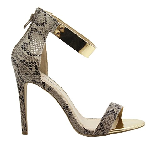 SAUTE STYLES Ladies Womens High Stiletto Heel Peep Toe Ankle Strappy Party Sandals Shoes Size Beige Snake ZdTotUVdY