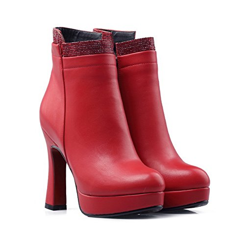 BalaMasa Womens High-Heel Zipper Solid Platform Penny-Loafer Urethane Boots ABL09795 Red PYgefko0