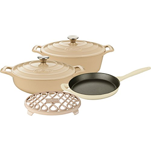 6 Piece Enameled Cookware Set (La Cuisine LC 2985 6 Piece Enameled Cast Iron Oval Casserole/Trivet Cookware Set, Cream)