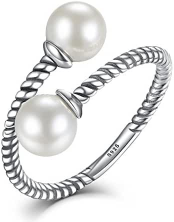 WOSTU Luxury Sterling Silver Wrap Around Twisted Rope Pearl Rings Adjustable Rings Size 6-8