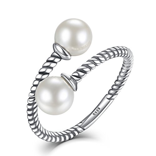 Pearl Open Rings WOSTU 925 Sterling Silver Wrap Around Twisted Rope Band Rings Adjustable Rings Size 6-9 - Sterling Silver Wrap Ring
