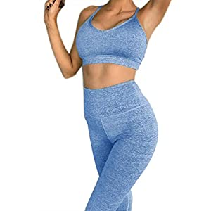 FRAUIT Tuta Sportiva Donna Due Pezzi, Yoga Set Completo Pantaloni Tuta + Reggiseno Leggings Donna Fitness Vita Alta Push Up Leggins Donna Sportivi Elegante