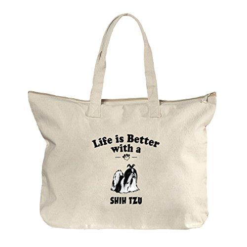 Shih Tzu Tote (Life Is Better Shih Tzu Dog Canvas Beach Zipper Tote Bag Tote)