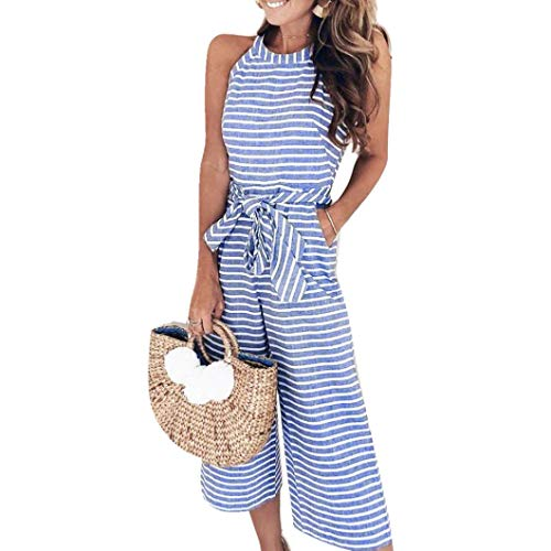 (vermers Womens Long Bohemian Jumpsuits Summer Stripe Printed Sexy Trouser Casual Rompers(XL, Blue))