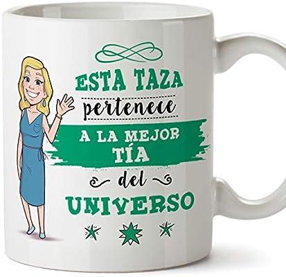 MUGFFINS Tazas Tía - Esta Taza Pertenece a la Mejor Tía del Universo - Taza Desayuno Original/Idea Regalo Cumpleaños. Cerámica 350 mL