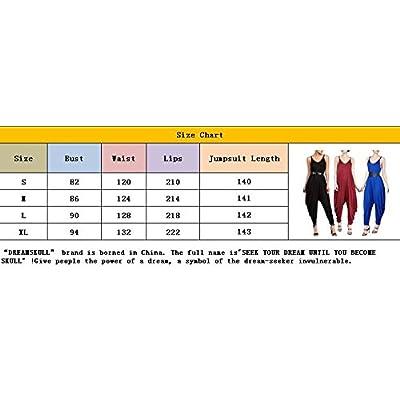 Dreamskull Women's Punk Spaghetti Strap Jumpsuit V Neckline Comfy Loose Harem One Piece Romper: Clothing