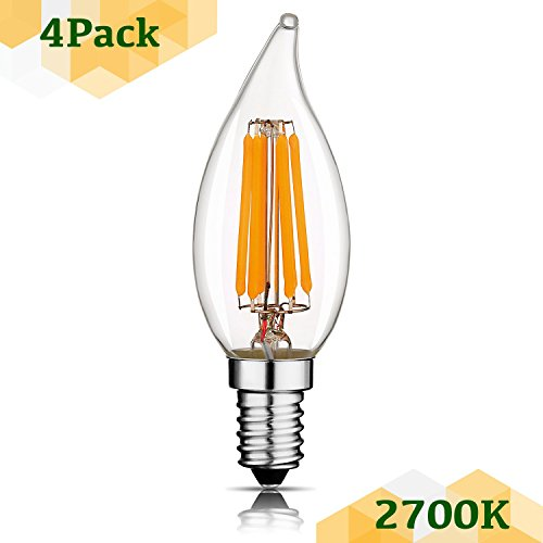 - Keymit C32T 6W 2700K 600LM Warm White 60W Equivalent LED Candelabra Non-Dimmable Bulb for Indoor Outdoor Chandelier Lighting 4Pack