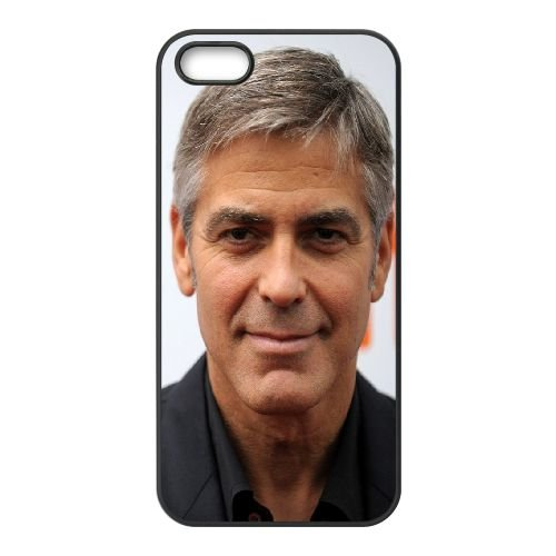 George Clooney Celebrity Actor Hollywood Smile Gray Haired coque iPhone 5 5S cellulaire cas coque de téléphone cas téléphone cellulaire noir couvercle EOKXLLNCD23859