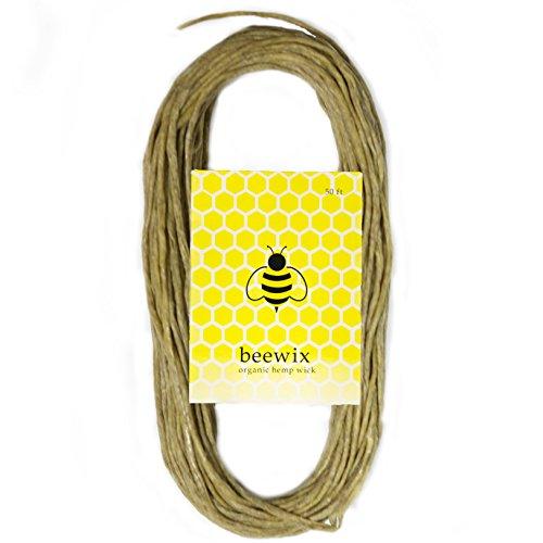 NEW 50ft Organic Hemp Wick with 100% Natural Beeswax Coating | beewix