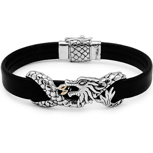 (Duro line) 925 Sterling Silver and 18Kt Yellow Gold Bracelet with Black Flat Plain Leather with Box Closure and Dragon Motive for Women and Memorial Day Jewelry Gift, Handmade Jewelry Size 7