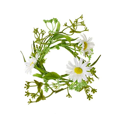 - Homeford White Daisy and Greenery Candle Ring, 2-1/2-Inch