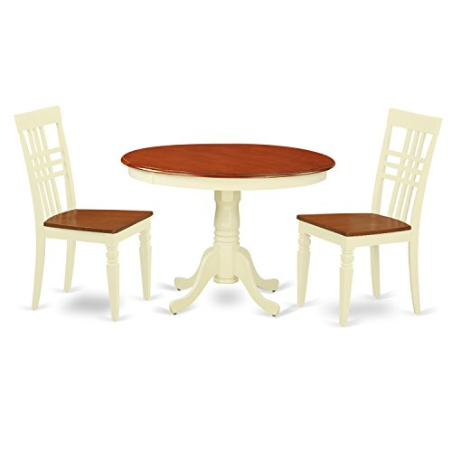 East West Furniture HLLG3-BMK-W 3Piece Hartland Set with One Round 42in Dinette Table & 2 Dinette Chairs with Solid Wood Seat, Buttermilk & Cherry