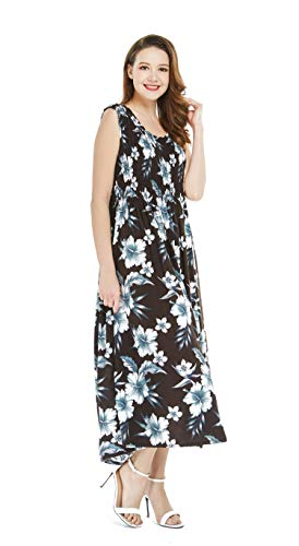 Women's Hawaiian Maxi Tank Elastic Luau Dress Midnight Bloom]()