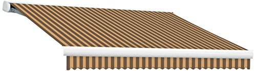 16' Left Motorized Awning - Awntech KWL16-BRNT 16-Feet Key West Left Motorized Retractable Awning, 120-Inch, Brown/Tan
