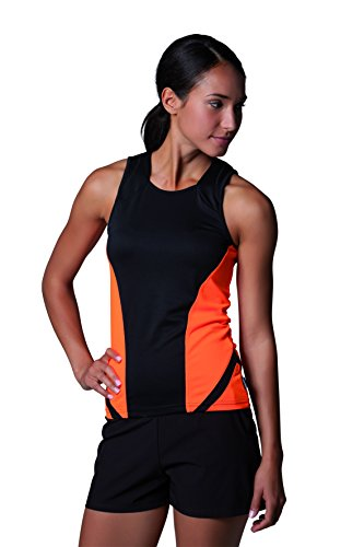 Gamegear–Ladies Cooltex deportes chaleco, camiseta de tirantes, ropa para mujer negro/ rojo