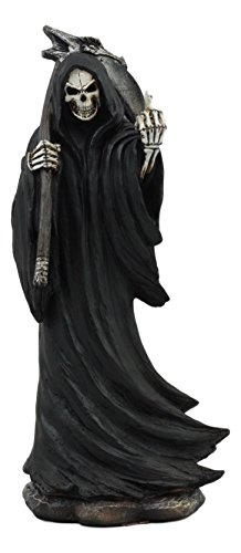 Ebros The Night Watchman Grim Reaper with Scythe Flipping Off Middle Finger Statue 8.25