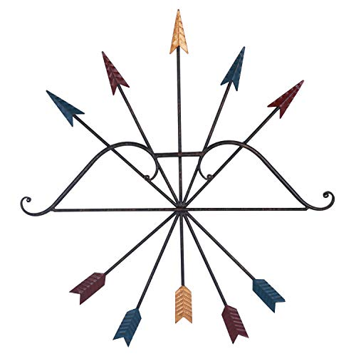 Yarshopy Colorful Metal Bow and Arrow Wall Art Decor, Native American Style Wall Decoration, 25 x 27 Inches -