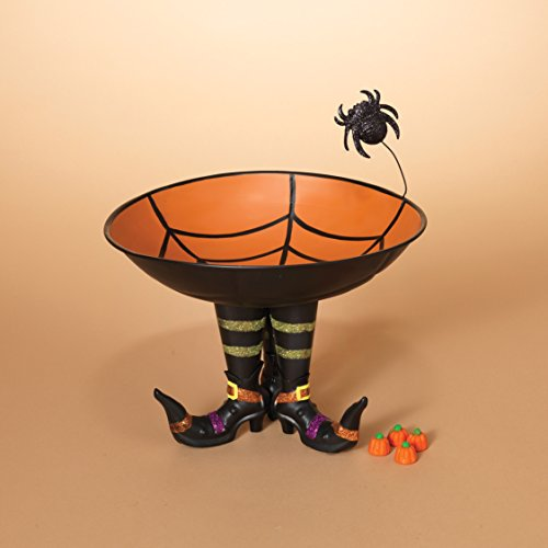 One Holiday Lane Metal Halloween Candy Bowl with Spider Web on Witch Boots - Halloween Decoration Candy Dish