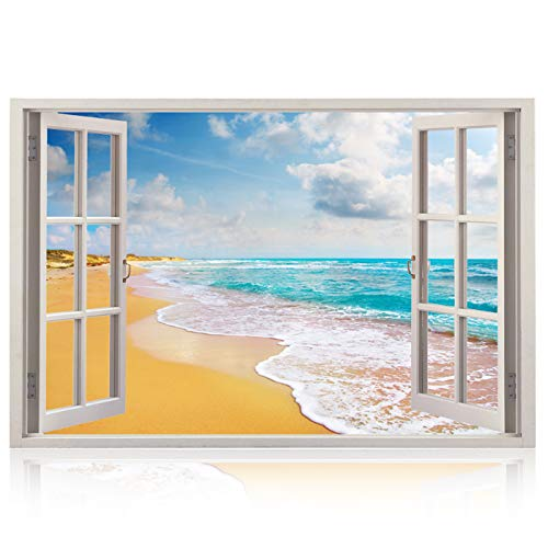 Wall Art Wallpaper Cover - Realistic Window Wall Decal - Peel and Stick Nautical Decor for Living Room, Bedroom, Office, Playroom - Beach Wall Murals Removable Window Frame Style Ocean Wall Art - Vinyl Poster Wall Stickers