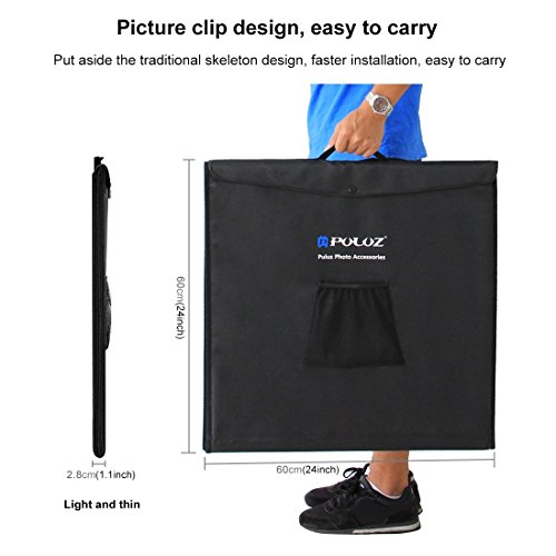 KXIN Photo Studio Box 24 inch Light Box Photography Light Tent, Professional Foldable Shooting Lighting Softbox 3 Colors Photography Waterproof Background Screen & Carrying Bag,UKplug by KXIN (Image #5)