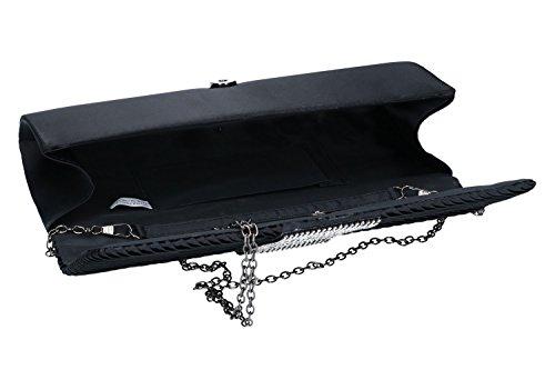 Bolsa mujer MICHELLE MOON pochette negro de mano de ceremonia + strass