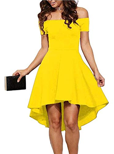 Sidefeel Women Off Shoulder Short Sleeve High Low Skater Dress XX-Large Yellow -
