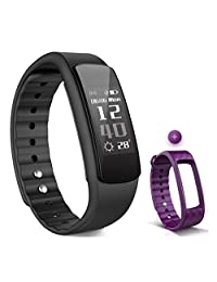 Fitness Tracker with Heart Rate Monitor, Iwownfit i6 HR Wireless Smart Bracelet,IP67 Waterproof smart watch with step tracker, Pedometer,Sleep Tracker,Calorie counter with multi color bands (Black-Slim)