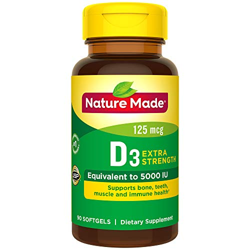 - Nature Made Vitamin D3 5000 IU Ultra Strength Softgels 90 Ct