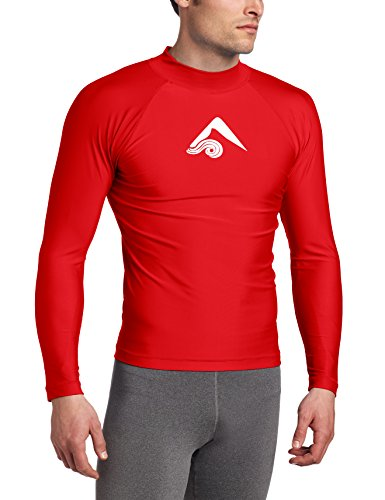 Kanu Surf Men's Long Sleeve Platinum UPF 50+ Rashguard, Red, Large