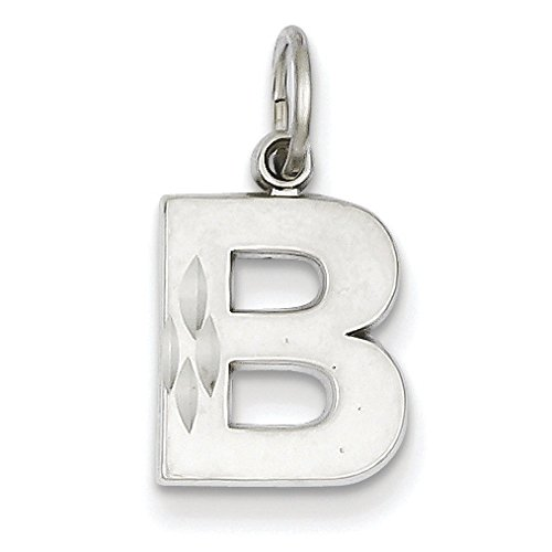 Or blanc massif 14 carats satiné taille diamant pendentif initiale B-Dimensions :  14 x 10 mm JewelryWeb