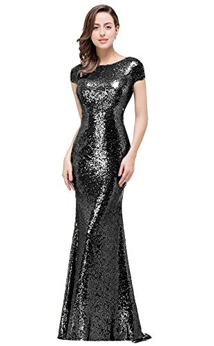 MisShow Women Sequined Evening Dresses Long Glitter Prom Evening Gowns Black, 4