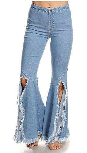 Women's Fashion Stretch High Waisted Slim Fit Distressed Flared Jeans Blue (Faded Flare Jeans)