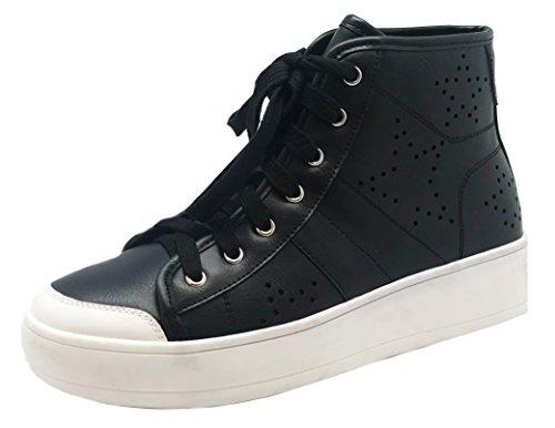 Cambridge Selezionare Donna Tondo Punta Allacciata Perforata Stampa Alta Top Casual Sportivo Moda Sneaker Nero