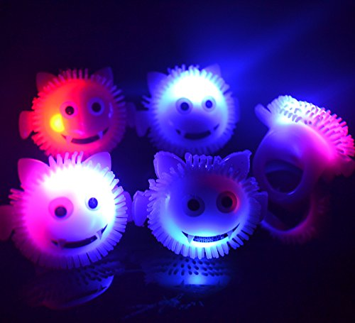 LED Light Up Flashing Halloween Party Favor Rings - Various Styles by Mammoth Sales (Monsters) -