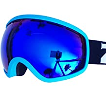 IceHacker Professional Snowboard Skate Ski Anti-fog and UV Protection Mirrored Goggle with Detachable and Stretchable Strap